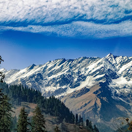 What a view! by Jay Vardhan Sharan - Landscapes Mountains & Hills ( clouds, hills, mountain, cloudscape, valley, landscape, mountains, blue sky, sky, nature, snow, landscape photography, cloud )