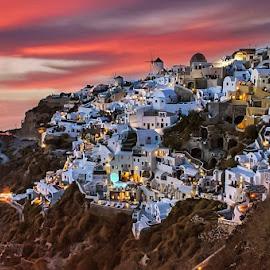 Santorini by Emil Georgiev - Landscapes Travel ( clouds, sunset, cityscape, rocks, city )