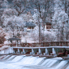 It's s Dam site to see  by Tammy Scott - City,  Street & Park  City Parks ( dam, waterway, infrared, long exposure, water, trees, park )