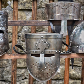 Only Metal by Marco Bertamé - Artistic Objects Other Objects ( protection, wood, metal, brown, lines, grey, helmet, head, medieval, straight )
