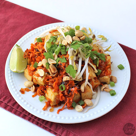 Orange Tofu with Sticky Sweet Potato Noodles