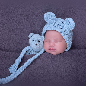 Peaceful by Tiffany Vnk - Babies & Children Babies ( beautiful, art, ears, blue, design, newborn photography, teddy bear, infant photography, blanket, sleeping, perfection, creative )