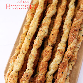 Parmesan Garlic Puff Pastry Twisted Breadsticks
