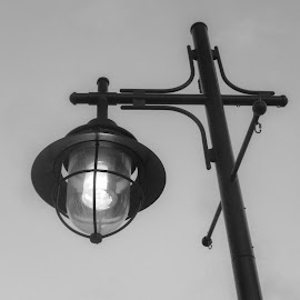 Night Light by Patricia Phillips - Black & White Objects & Still Life ( b&w lights street lamps )