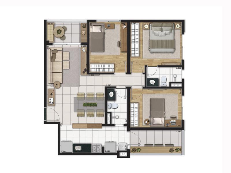 Planta Tipo com 76 m² com 3 Dormitórios ( Garden)