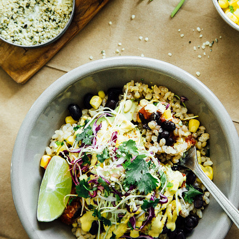 Spicy Black Bean Burrito Bowls with Cashew Hemp Seed Chipotle Sauce