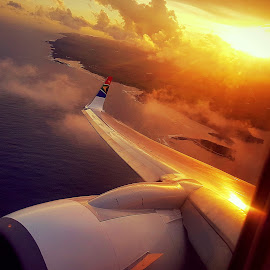 Sunset on the plane by Hayley Moortele - Transportation Airplanes ( #plane, #transportation, #wings, #sunset )