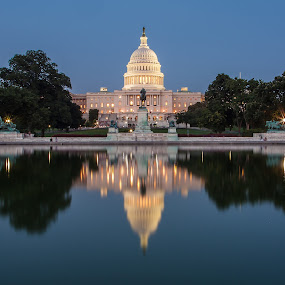 Freedom Is Always On Top by Craig Pifer - Buildings & Architecture Public & Historical ( water, building, statue, reflection, freedom, blue, blue hour, night, government, u.s. capitol )