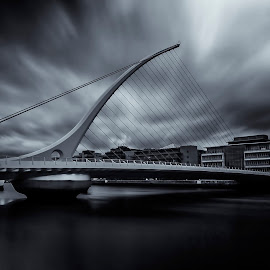 Samuel Beckett Bridge by László Gecző - Buildings & Architecture Bridges & Suspended Structures ( clouds, black and white, dublin, long exposure, bridge )