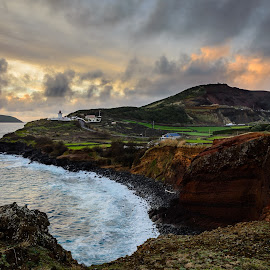Contendas Lighthouse - Azores by César Cota - Landscapes Waterscapes ( clouds, amazing, islet, sky, pradise, sunset, lighthouse, sea, seascape, portugal, island, azores )