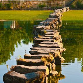 Caminho de pedras by Tempo Cativo Paulo Borges - City,  Street & Park  Historic Districts ( ponte, rio tâmega, caminho de pedras, reflexos, chaves )
