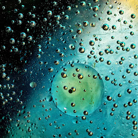 Teal Moon by John Daly - Abstract Macro ( abstract, macro, moon, bubbles, oil )