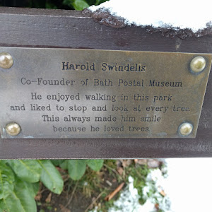 Harold Swindells Co-founder of Bath Postal Museum He enjoyed walking in this park and liked to stop and look at every tree. This Always made him smile because he loved trees This plaque is originally ...