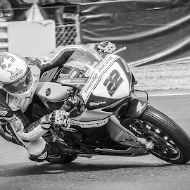 Out of the bend by James Booth - Black & White Sports ( rider brands, superbikes racing motorbikes )