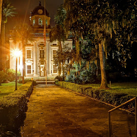 Night Court by Harry James - Buildings & Architecture Public & Historical ( coastal georgia, golden isles, night photography, brunswick georgia, court house )