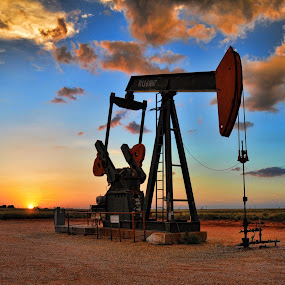 West Texas Sunset by Starla Sims - Landscapes Sunsets & Sunrises ( sunset, texas, oil rig )