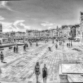 Black and white Venetian street by Mandy Hedley - People Street & Candids ( street, venice, white, people, canal, black )