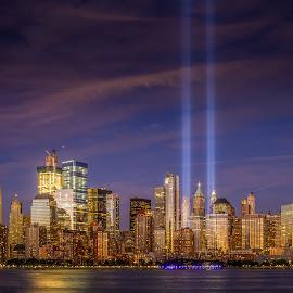 9/11 Memorial LIghts by Linda Karlin - City,  Street & Park  Skylines ( nyc, skyline, landscape, architecture )