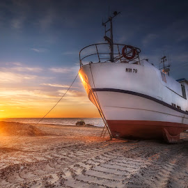 Thorup Strand by Ole Steffensen - Transportation Boats ( jammerbugten, sunset, beach, denmark, thorup strand, boat, tractor, fishing vessel,  )