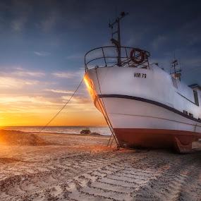 Thorup Strand by Ole Steffensen - Transportation Boats ( jammerbugten, sunset, beach, denmark, thorup strand, boat, tractor, fishing vessel,  )