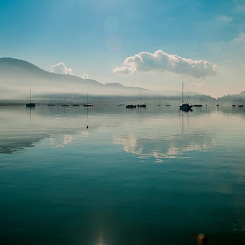 Vlicho Bay View by Jacquie Woodburn - Novices Only Landscapes ( clouds, water, reflection, blue, boats, greece, lefkada, sea )