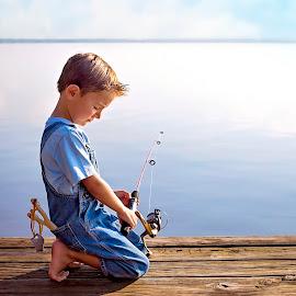 Fishing Prayer by Sabrina Causey - Babies & Children Children Candids ( pier, blue, prayer, fishing, dock, boy, lake, water, fishing pole )