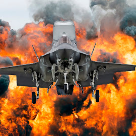 F-35B by Clifford Martin - Transportation Airplanes ( fighter jet, usmc, wall of flames, joint strike fighter, f-35b )