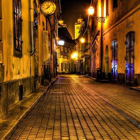 Eger, Hungary by Peter Kennett - City,  Street & Park  Street Scenes ( hungary, hdr, night, eger )