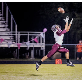 Leaping Catch by Elk Baiter - Sports & Fitness American and Canadian football ( wildcats, warren county, high school, football, varsity, sports, athlete, pass )
