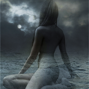TIDE by Carmen Velcic - Digital Art People ( body, moon, abstract., woman, she, tide, sea, digital )