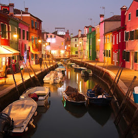 Nightfall in Burano Italy by Jen Tiffan - City,  Street & Park  Street Scenes