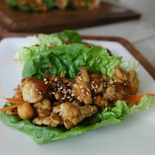 Asian Inspired Vegetarian Lettuce Wraps with Honey Garlic Glaze