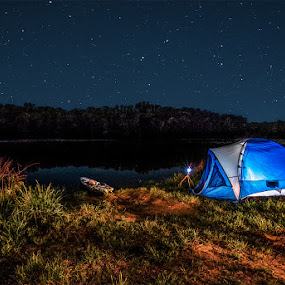 Solitude by Marietta Caldwell - Landscapes Starscapes ( light painting, camping, stars, tent, night, landscape, river )