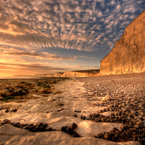 Chalky Path by Mark Leader - Landscapes Beaches ( shore, exposure, uk, hdr, dream, cliff, beach, shadows, sun, coast, colour, chalk, pool, sussex, ripples, sunset, low tide, lines, east, surreal, rocks, light, birling gap )