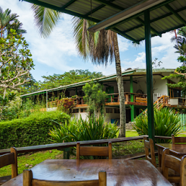 Sloth Sanctuary by Mike Crosson - Buildings & Architecture Other Exteriors ( palm, deck, costa rica, house, summer, building, patio, furniture, hotel, wood, resort, table, architecture, area, no person, chair, dining, porch, tree, cr, outdoor, tropical, architectural element, outdoors, luxury, garden, travel,  )