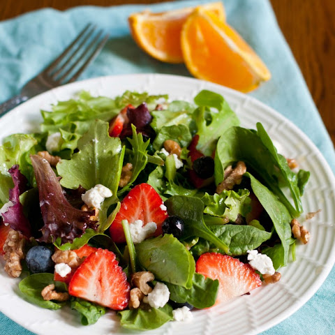 Summer Berry Salad with Roasted Walnuts, Goat Cheese, and Orange Vinaigrette