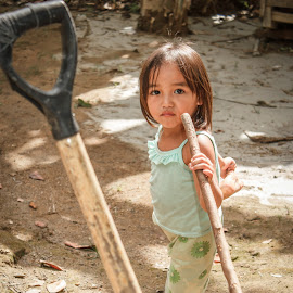 Work by Wing Yin Cheong - Babies & Children Child Portraits ( girl, village, asia, standing, philippines )