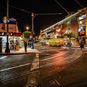 Last Stop on F-Line by Dee Zunker - City,  Street & Park  Street Scenes ( street car, fisherman's wharf, night, san francisco, lights )
