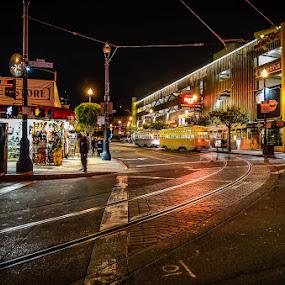 Last Stop on F-Line by Dee Zunker - City,  Street & Park  Street Scenes ( street car, fisherman's wharf, night, san francisco, lights )