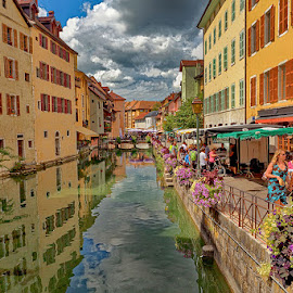 This is not Venice by Radu Eftimie - City,  Street & Park  Street Scenes ( annecy, street, france, water channel )
