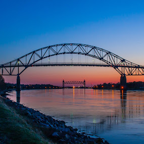 Bourne Bridge by Daniel Gorman - Buildings & Architecture Bridges & Suspended Structures ( water, buzzards bay, bridge, bridges, bourne, bourne bridge, , golden hour, sunset, sunrise, relax, tranquil, relaxing, tranquility )