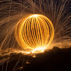 Wire Wool Spinning by John Davies - Abstract Light Painting ( llantwit major, light painting, llantwit major beach, sunset, canon eos 7d mk2, long exposure, jd photography )
