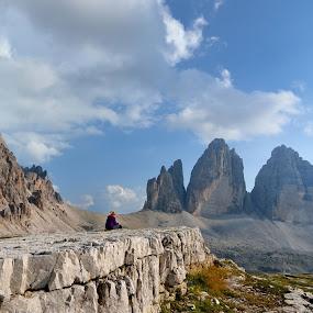 Before Tre CIme by Silva Predalič - Landscapes Mountains & Hills ( clouds, mountains, sky, girl, dolomiti, peaks, tre cime )