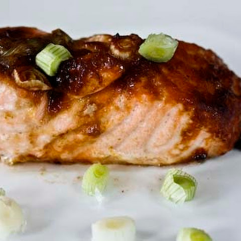 Red Miso Baked Salmon with Scallions