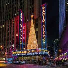 Radio City Music Hall at Night by Carol Ward - City,  Street & Park  Night ( navy yard, christmas, radio city music hall, street scene, new york, new york city, nyc,  )
