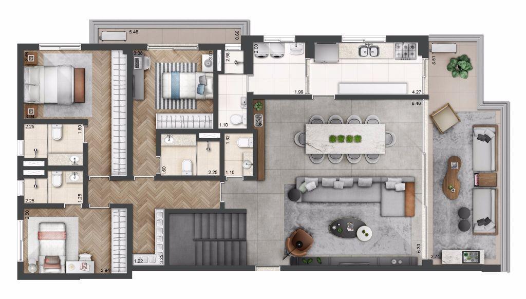Planta Duplex Opção - 307 m²