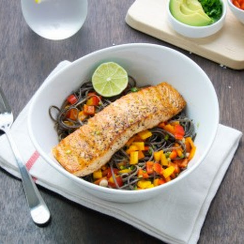 Salmon With Black Bean Pasta