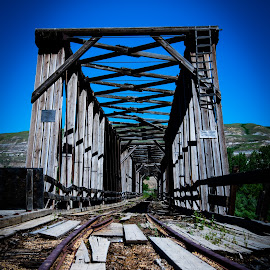 Railway Bridge by Darrell Portz - Transportation Railway Tracks ( railroad tracks, alberta, atlas coal mine, bridge, drumheller )