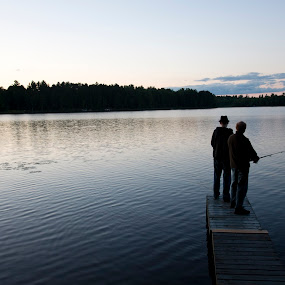 Father and Son Bond by Brittany Humphrey - People Family ( water, vacation, sunset, lake, son, fishing, father )