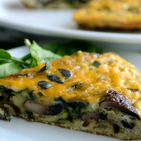 Spinach, Roasted Garlic, and Mushroom Frittata